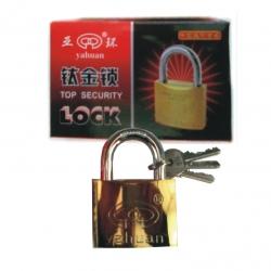 Lock Padlock Gold Plated 50mm Tri-Circus