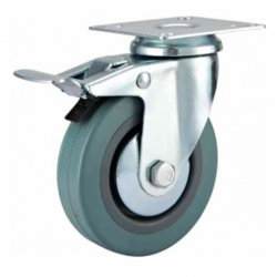 Castor Swivel with Brake Grey wheel 100mm
